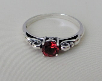 Garnet Scroll Ring in Sterling Silver, Garnet Solitaire Ring, 5mm Mozambique Garnet Gemstone, Garnet Jewelry, January Birthstone Ring