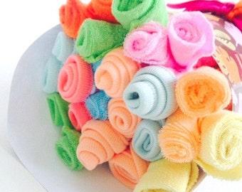 Baby Shower Gift   Washcloth Bouquet   One Dozen Baby Washcloths