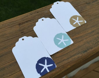 10 Sand Dollar gift tags with ties