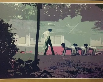 """The Human Centipede GIANT WIDE 42"""" x 24"""" Movie Scene Digital Painting Poster Horror Art"""