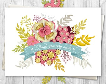 Greeting Cards, Handmade Card, Flower Card, Thank you Cards, Flower Greeting Card, Blank Card, Flower Card, Floral Thank you - Card No.01