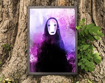 No-Face Print, Spirited Away, Kaonashi, Watercolor, Anime Print, Wall Decor