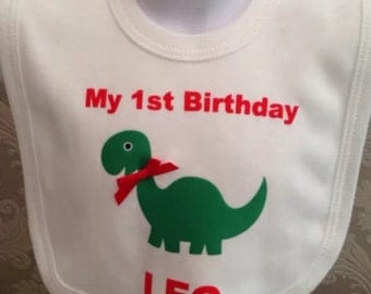 Baby boys personalised dinosaur 1st birthday bib