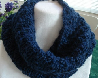 Scarf, Blue, Infinity, Cowl, Knit, Drapes well, Women or Teen.