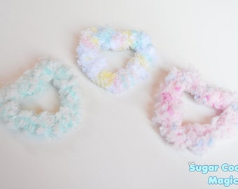 Two-Way Fuzzy Heart Clip/Pin in PINK, WHITE, or BLUE (Choose one)