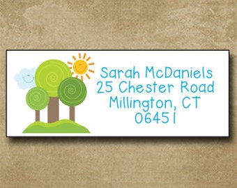Trees, Forest, Cute Address Labels, Personalized Mailing Stickers, Return Address Labels, Custom, Happy Trees
