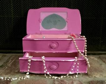 Shabby Chic Jewelry Box, Purple Jewelry Box, Shabby Chic Decor, Jewelry Box