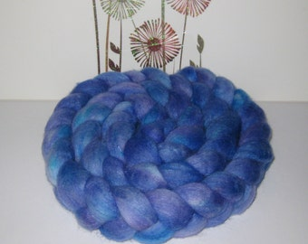 Polwarth Wool/ Silk Blend Roving - Hand Dyed Roving for Spinning and Felting