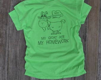 Funny Goat Ate My Homework Neon T-Shirt for the 4H Goat Kid Youth Sizes