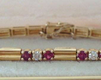 Vintage 14K Gold Links Diamond Ruby Tennis Bracelet