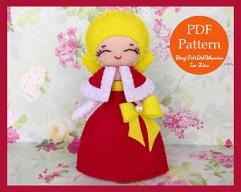 Christmas Evening Dress Doll. Felt Doll. PDF Pattern & Tutorial. Christmas Doll. Christmas Pattern. Christmas Decoration.