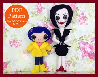 Coraline and Other Mother. Felt Doll. PDF Pattern and Tutorial. Halloween Pattern. Halloween Decoration. Halloween Doll.