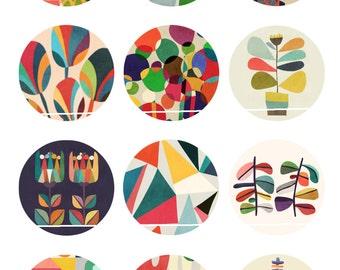 Sweet colors 12 Images/Dessins digitales/collage sheet pour cabochon 25 mm Rond
