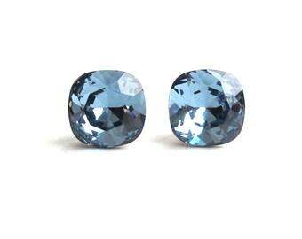 SALE // Swarovski Crystal Stud Earrings   Denim Blue