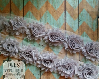 "Silver 2.5"" Chiffon Shabby Flowers/Wholesale/single/ Yard/Grey"