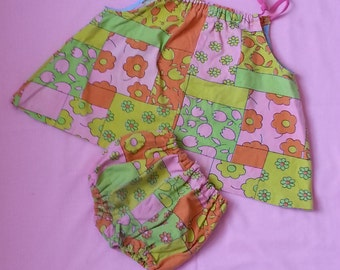 Vintage Girls Play Suit Trapeze Sunsuit Bloomer Panty 2pc Set Children Child 12mos