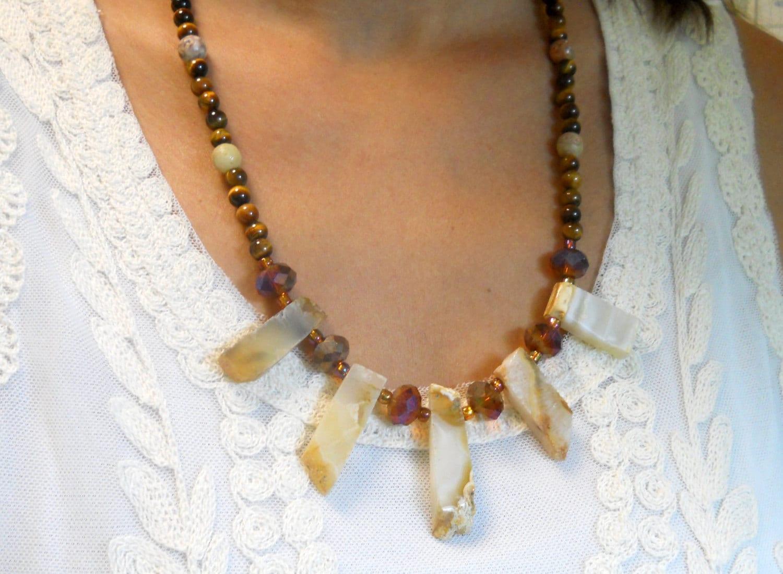 Unique artisan gemstone handmade jewelry Beaded necklace