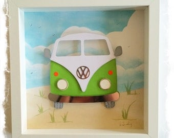 VW Camper Van in green / VW Bus Collage / 3D papercut Picture - Small Shadow box frame