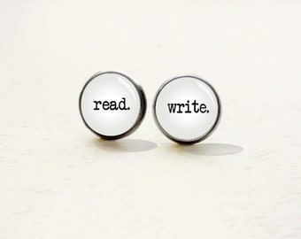 Read Write Stud Earrings - Reader Earrings - Writer Earrings - Book Lover -  Gift for Teens (H4401)