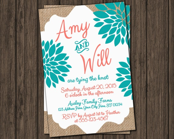 Coral And Teal Wedding Invitations: Items Similar To Wedding Invitation