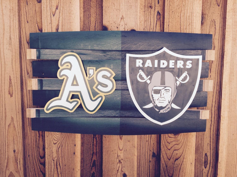 Man Cave Oakland : Oakland raiders athletics man cave wall hang wood