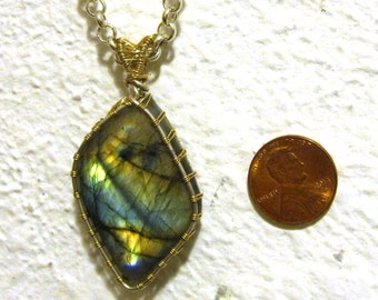 AAA Labradorite Pendant Wrapped in 14kt GF and Argentium Silver