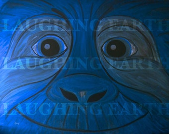 Smiling blue monkey done in colored chalk