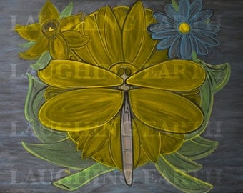 Yellow dragonfly and daisy done in colored chalk