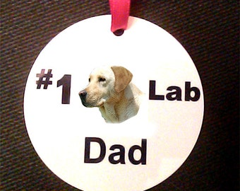 Number One Yellow Lab Dad Ornament with Ribbon