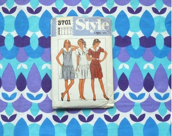80s drop waist dress pattern with sailor collar. style pattern no 3701. size 10. nautical dress pattern. DIY . pullover dress - sewing club