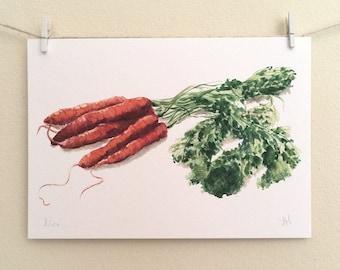 A5 'Carrots' Art Print
