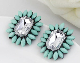 Mint Green Over sized Statement Stud Flower burst Earrings