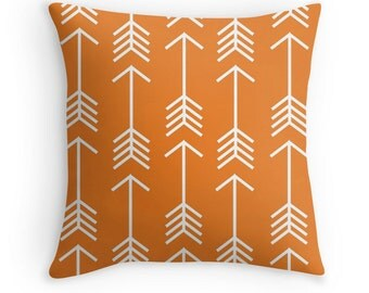Arrow Throw Pillow Cover, Orange Pillow, Woodland Pillow, Rustic, Woodland Nursery