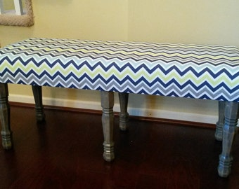 Upholstered Bench - Green, Blue, and Grey Chevron