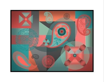 "Printable Abstract Contemporary Artwork 30"" x 24"" in. ""Aqua Coral"""