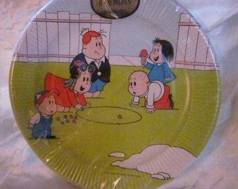 LITTLE LULU Party PLATES,Lulu Comics..Vintage Marge's Little Lulu,Tubby Comics,Retro Party Plates,Western Pub.Co.,1960's.1970's, Party Decor