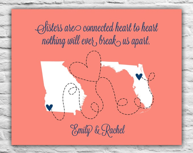 Graduation Gift for Sister, Cousin Present, Special, Popular, State Love, Birthday Gift Ideas, Sorority State Maps, Miss You, Far Away Gift