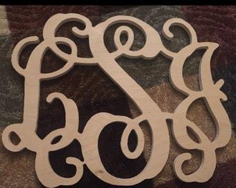 3 letter Wooden Monogram