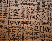 "10 sheets of Primitive Tissue Paper  / Gift Wrap  on Kraft Tan ... 20"" x 30"" ... .Black words -  Love, Friends, Simply, Family - gift wrap"