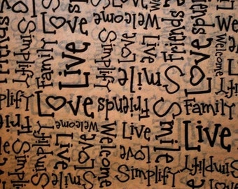 """10 sheets of Primitive Tissue Paper #215 / Gift Wrap  on Kraft Tan .. 20"""" x 30"""" ... Black words -  Love, Friends, Simply, Family - gift wrap"""