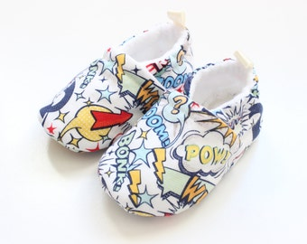 superhero comic -  baby boy shoes, Soft Sole Baby Shoes, Fabric Baby Booties