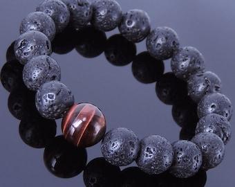 Men's Women Lava Rock Red Tiger Eye Bracelet Gemstone DiyNotion Handmade BR362