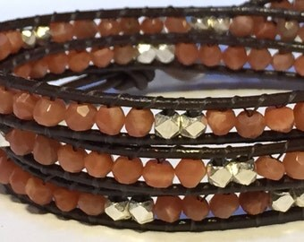 Moonstone and Sterling Silver Leather Wrap Bracelet