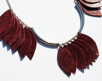 Dark red leather leaf necklace