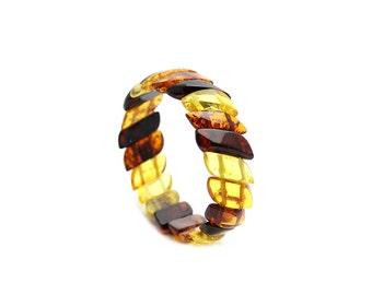 Amber Bracelet - Multicolored Beaded Bracelet - Multicolored Amber Bracelet - Amber Beaded Bracelet - Baltic Amber Bracelet -(DO-224)
