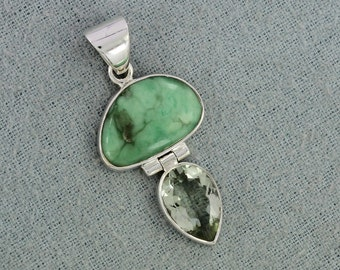 Natural Turquoise, Prasiolite Green Amethyst Gemstone 925 Sterling Silver Pendant, ,Handmade Wedding Gift Jewelry