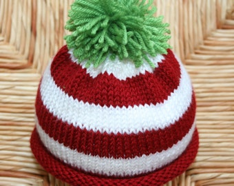 Candy Cane Striped Baby Beanie / Baby Hat /Toddler Hat / Toddler Beanie / Christmas Hat