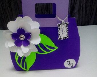 Paper purse gift bag,purple purse favor bag.