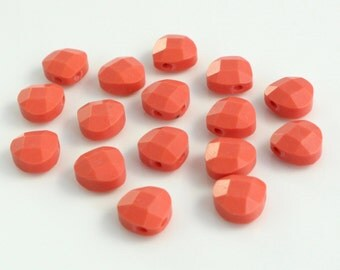 """SALE!  Coral Faceted Briolette Beads  - 8 x 8 x 4 MM  – 8"""" Strand"""