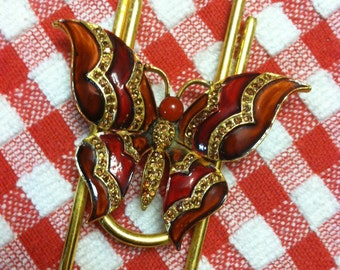 Repurposed Red Butterfly Brooch on Large Gold Paper Clip Book Mark